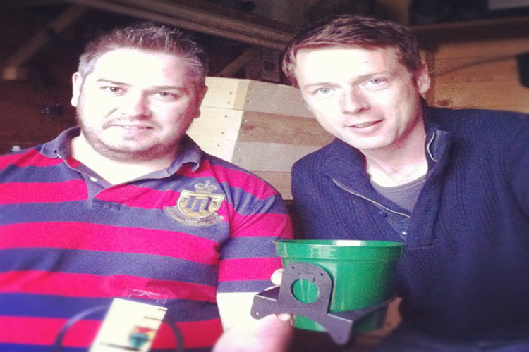 Noel with Peter Donegan after securing investment on Dragons Den in 2012.